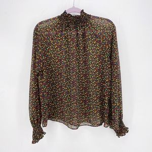 Gap High Neck Ditzy Floral Sheer Blouse